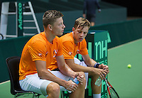 Switserland, Genève, September 16, 2015, Tennis,   Davis Cup, Switserland-Netherlands, Practise Dutch team, Tim van Rijthoven  (L) and Tallon Griekspoor<br /> Photo: Tennisimages/Henk Koster