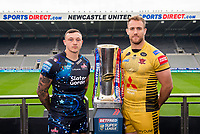 Picture by Allan McKenzie/SWpix.com - 15/05/2017 - Rugby League - Dacia Magic Weekend 2017 Preview - St James Park, Newcastle, England - Leigh Centurions Matty Dawson & Salford's Lee Mossop with the Betfred Super League trophy ahead of their Magic Weekend game.