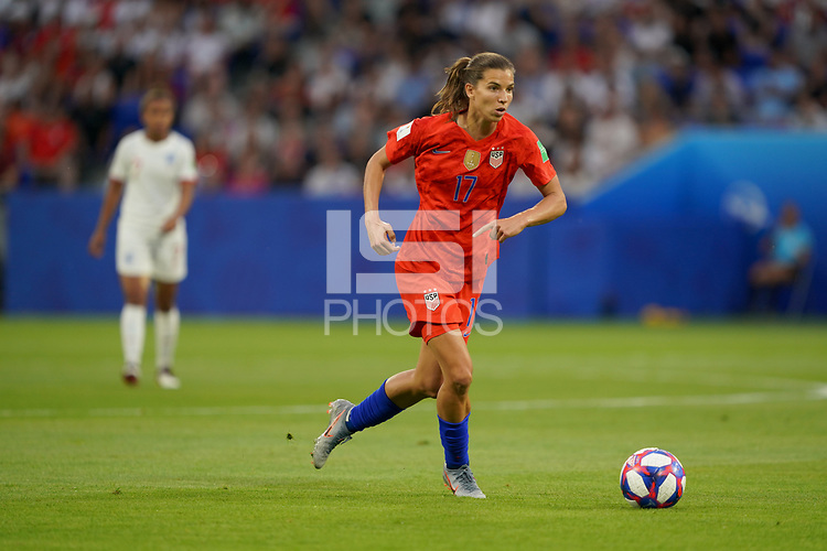DECINES-CHARPIEU, FRANCE - JULY 02: Tobin Heath #17 during a 2019 FIFA Women's World Cup France Semi-Final match between England and the United States at Groupama Stadium on July 02, 2019 in Decines-Charpieu, France.