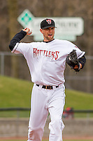 Wisconsin Timber Rattlers pitcher Jon Perrin (22) throws to first during a Midwest League game against the Beloit Snappers on April 10th, 2016 at Fox Cities Stadium in Appleton, Wisconsin.  Wisconsin defeated Beloit  4-2. (Brad Krause/Four Seam Images)