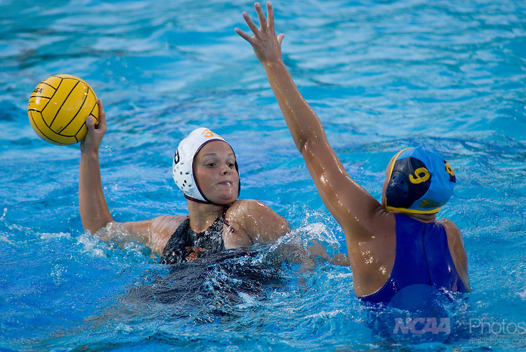 11 MAY 2008:  USC's Alexandra Kiss (8) looks for a teammate against UCLA's Jillian Kraus (9) during the Division I Women's Water Polo Championship held at the Avery Aquatic Center on the Stanford University Campus in Palo Alto, CA. UCLA beat USC with a score of 6-3. Don Feria/NCAA Photos.