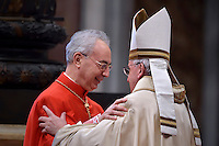 French Cardinal  Dominique Mamberti .Pope Francis,during a consistory for the creation of new Cardinals at St. Peter's Basilica in Vatican.February 14, 2015