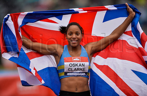26.06.2016. Alexander Stadium, Birmingham, England. British Athletics Championships. Shelayna Oskan-Clark celebrates with the British Flag after winning the 800m.