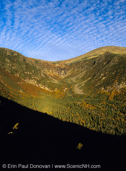 Tuckerman Ravine from Boott Spur Trail in Sargent's Purchase of the White Mountains, New Hampshire. The summit of Mount Washington at the top right.