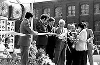 Gerald Godin inaugure les celebrations de la Fete de la lune d'automne devant le Palais des congres dans le quartier chinois, le 19 aout 1983<br /> <br /> PHOTO : Pierre Roussel<br /> -  Agence Quebec Presse