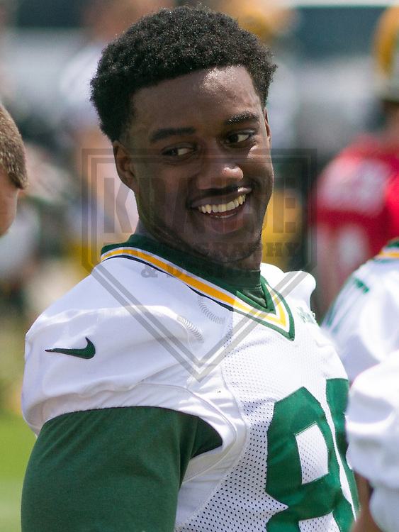 GREEN BAY - June 2015: Green Bay Packers tight end Kennard Backman (86) during an Organized Team Activity on June 10th, 2015 at Clarke Hinkle Field in Green Bay, Wisconsin. (Brad Krause/Krause Sports Photography)
