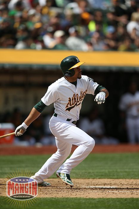 OAKLAND, CA - APRIL 2:  Coco Crisp #4 of the Oakland Athletics bats against the Cleveland Indians during the game at O.co Coliseum on Wednesday, April 2, 2014 in Oakland, California. Photo by Brad Mangin