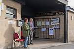 07/05/2015 Election day, Frome. Constituents get to vote for their preferred candidate for the national election in the Somerton and Frome constituency, for their district councillors on Mendip District Council and for councillors on Frome Town Council. This polling station at Frome Assembly Rooms is the local polling station for the Keyford ward.