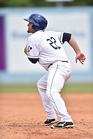 Asheville Tourists third baseman Shane Hoelscher (22) breaks for second during a game against the Rome Braves on May 17, 2015 in Asheville, North Carolina. The Tourists defeated the Braves 9-8. (Tony Farlow/Four Seam Images)