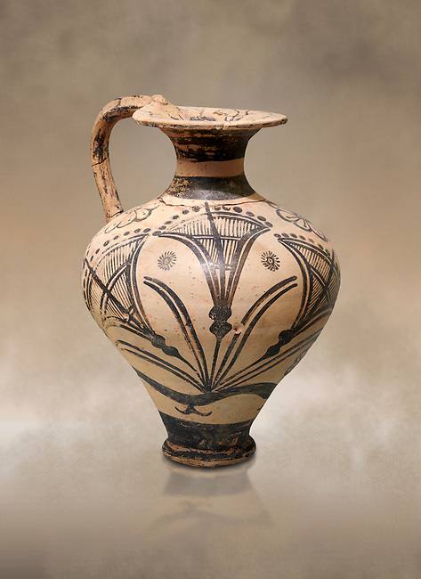 The Minoan decorated jug decorated with stylised papyrus, Palaikastro,  1500-1450 BC; Heraklion Archaeological  Museum.