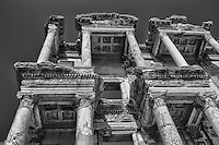 Ephesus library ruins in Turkey in black and white
