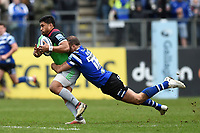 Ben Tapuai of Harlequins is tackled by Jamie Roberts of Bath Rugby. Gallagher Premiership match, between Bath Rugby and Harlequins on March 2, 2019 at the Recreation Ground in Bath, England. Photo by: Patrick Khachfe / Onside Images