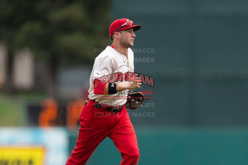 Fresno Grizzlies shortstop Carter Kieboom (8) jogs off the field during a game against the Reno Aces at Chukchansi Park on April 8, 2019 in Fresno, California. Fresno defeated Reno 7-6. (Zachary Lucy/Four Seam Images)