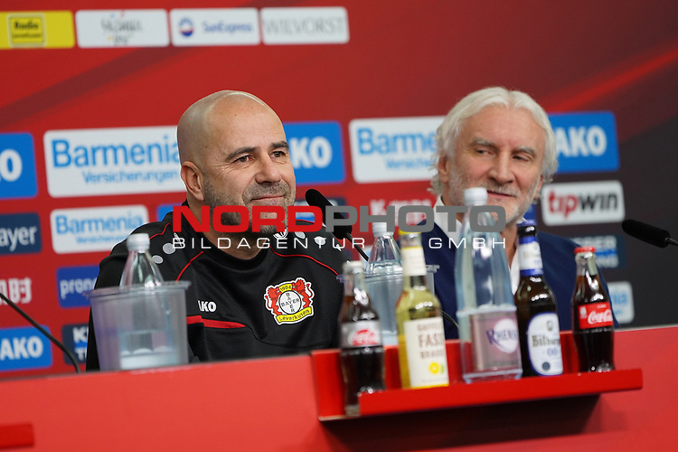 04.01.2019, BayArena, Leverkusen, GER, 1. FBL,  Bayer 04 Leverkusen PK Trainerwechsel,<br />  <br /> DFL regulations prohibit any use of photographs as image sequences and/or quasi-video<br /> <br /> im Bild / picture shows: <br /> erste Pressekonferenz von Peter Bosz Trainer / Headcoach (Bayer 04 Leverkusen), re Rudi Völler/ Voeller Geschaeftsfuehrer Sport (Bayer 04 Leverkusen), <br /> <br /> Foto © nordphoto / Meuter