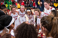 STANFORD, CA -- January  18, 2019. The Stanford Cardinal women's basketball team defeats the University of Washington Huskies 91-54 at Maples Pavilion.