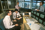 Stock Brokers 1990s UK working for Hoare Govett at their  terminals City of London office. 90s England