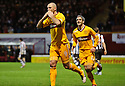 MOTHERWELL'S MICHAEL HIGDON CELEBRATES AFTER HE SCORES MOTHERWELL'S GOAL ..17/12/2011 sct_jsp008_motherwell_v_st_mirren     .Copyright  Pic : James Stewart.James Stewart Photography 19 Carronlea Drive, Falkirk. FK2 8DN      Vat Reg No. 607 6932 25.Telephone      : +44 (0)1324 570291 .Mobile              : +44 (0)7721 416997.E-mail  :  jim@jspa.co.uk.If you require further information then contact Jim Stewart on any of the numbers above.........
