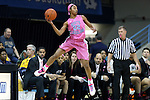 19 February 2015: North Carolina's N'Dea Bryant saves the ball from going out of bounds. The University of North Carolina Tar Heels hosted the Wake Forest University Demon Deacons at Carmichael Arena in Chapel Hill, North Carolina in a 2014-15 NCAA Division I Women's Basketball game.