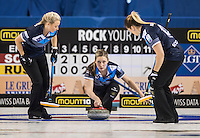 Glasgow. SCOTLAND.  Scotland&quot;, Lauren GRAY, releasing the &quot;Stone&quot; during  the &quot;Round Robin&quot; Game.  Scotland vs Russia,  Le Gruy&egrave;re European Curling Championships. 2016 Venue, Braehead  Scotland<br /> Thursday  24/11/2016<br /> <br /> [Mandatory Credit; Peter Spurrier/Intersport-images]
