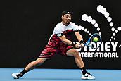 11th January 2018, Sydney Olympic Park Tennis Centre, Sydney, Australia; Sydney International Tennis,quarter final; Fabio Fognini (ITA) stretches for a return in his match against Adrian Mannarino (ITA)