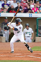 Cedar Rapids Kernels second baseman Joel Licon #41 bats during a game against the Kane County Cougars at Veterans Memorial Stadium on June 8, 2013 in Cedar Rapids, Iowa. (Brace Hemmelgarn/Four Seam Images)