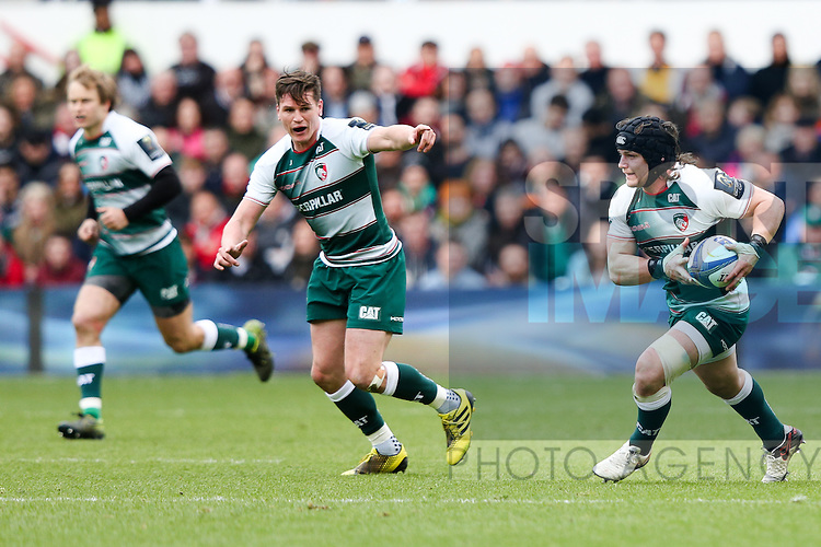 Leicester?s Harry Thacker and Leicester?s Freddie Burns during the 2016 semi-final of the European Rugby Champions Cup match at the City Ground, Nottingham. Photo credit should read: Charlie Forgham Bailey/Sportimage