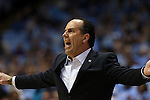 05 January 2015: Notre Dame head coach Mike Brey. The University of North Carolina Tar Heels played the University of Notre Dame Fighting Irish in an NCAA Division I Men's basketball game at the Dean E. Smith Center in Chapel Hill, North Carolina. Notre Dame won the game 71-70.
