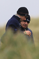 Killian McGinley (Sunningdale) and his Dad Paul McGinley the 13th tee during Round 2 of the Ulster Boys Championship at Portrush Golf Club, Portrush, Co. Antrim on the Valley course on Wednesday 31st Oct 2018.<br /> Picture:  Thos Caffrey / www.golffile.ie<br /> <br /> All photo usage must carry mandatory copyright credit (&copy; Golffile | Thos Caffrey)