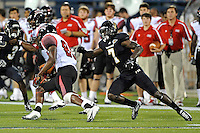 24 September 2011:  FIU safety Jonathan Cyprien (7) pursues ULL tight end Ladarius Green (89) in the second quarter as the University of Louisiana-Lafayette Ragin Cajuns defeated the FIU Golden Panthers, 36-31, at FIU Stadium in Miami, Florida.