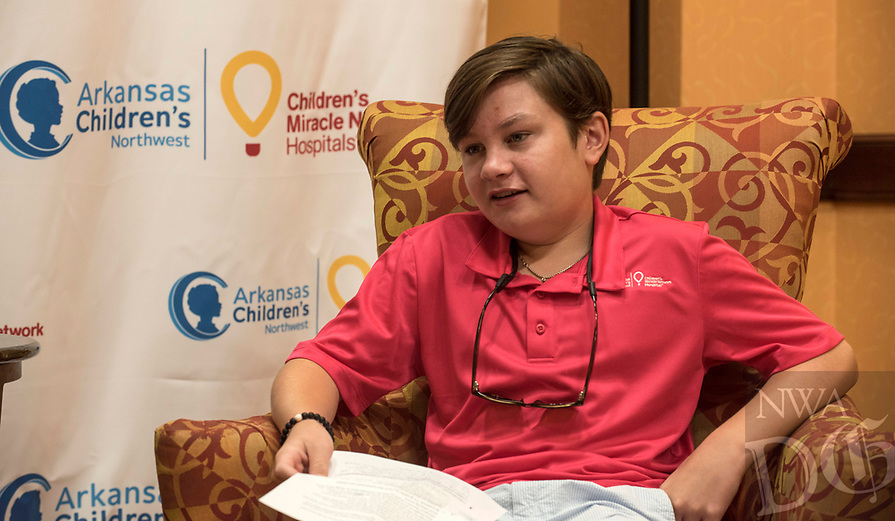 NWA Democrat-Gazette/SPENCER TIREY    Barrett Diebold talks about his experience as a recent patient at Arkansas Children's Northwest Hospital Friday Aug. 3, 2018 at the John Q. Hammons center in Rogers.