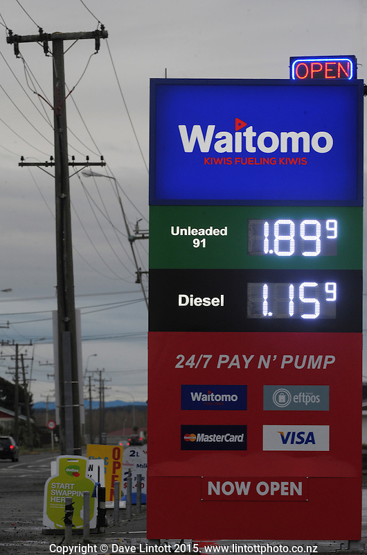 Petrol price at Waitomo Service Station, Foxton, New Zealand on Wednesday, 16 July 2015. Photo: Dave Lintott / lintottphoto.co.nz