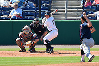 Louisville Cardinals infielder Nick Solak (17) at bat in front of catcher A.J. Kennedy (10) and umpire Sean Barber against pitcher John Gavin (44) during a game against the Cal State Fullerton Titans on February 15, 2015 at Bright House Field in Clearwater, Florida.  Cal State Fullerton defeated Louisville 8-6.  (Mike Janes/Four Seam Images)
