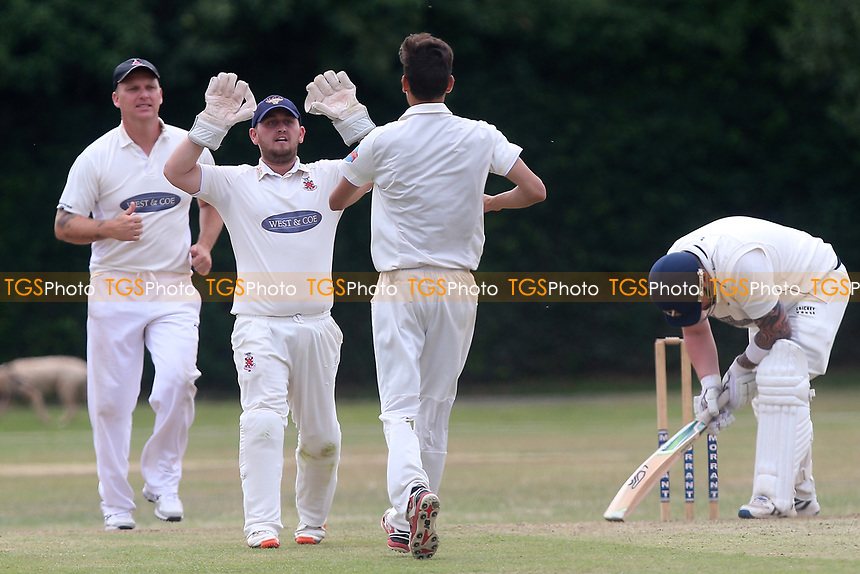 Upminster players celebrate the wicket of A Ison during Upminster CC vs Hornchurch CC, Shepherd Neame Essex League Cricket at Upminster Park on 8th July 2017