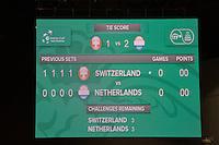Switserland, Genève, September 17, 2015, Tennis,   Davis Cup, Switserland-Netherlands, Scorebord <br /> Photo: Tennisimages/Henk Koster