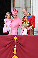 Catherine, Duchess of Cambridge; Princess Charlotte; Prince George &amp; Prince William, Duke of Cambridge on the balcony of Buckingham Palace following the Trooping of the Colour Ceremony celebrating the Queen's official birthday. London, UK. <br /> 17 June  2017<br /> Picture: Steve Vas/Featureflash/SilverHub 0208 004 5359 sales@silverhubmedia.com