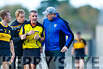 Vince Casey Dr Crokes and Kerins O'Rahillys Manager Micheál Quirke with Referee Brendan Griffin in the Kerry Senior Football County Championship Semi Final between Dr Crokes and Kerins O'Rahillys at Austin Stack Park on Sunday.
