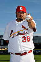 Mar 01, 2010; Jupiter, FL, USA; St. Louis Cardinals pitcher Dennys Reyes (36) during  photoday at Roger Dean Stadium. Mandatory Credit: Tomasso De Rosa/ Four Seam Images
