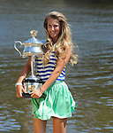 Victoria Azarenka on champion shoot displaying Women's trophy  from  the US Open in Melbourne Australia on January 28, 2012.