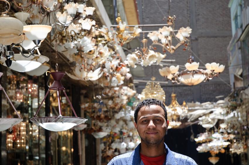 A chandelier salesman in Cairo's lighting district