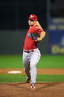 Williamsport Crosscutters pitcher Sutter McLoughlin (39) delivers a pitch during a game against the Batavia Muckdogs on August 29, 2015 at Dwyer Stadium in Batavia, New York.  Williamsport defeated Batavia 7-3.  (Mike Janes/Four Seam Images)