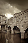 Storm skies over Pulteney Bridge, Bath, Somerset, England