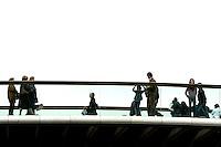 Il Ponte della Costituzione, progettato da Santiago Calatrava, sul Canal Grande a Venezia.<br /> People cross the new Ponte della Costituzione (Constitution Bridge) by Santiago Calatrava, along the Grande Canal in Venice.<br /> UPDATE IMAGES PRESS/Riccardo De Luca