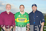 Sean Murnane (chairman Kilmoyley Hurling Club) and Anthony Daly (manager of the Kilmoyley Senior hurling team) given final advice to capt Michael Regan before their big game. .