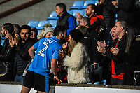 Fleetwood Town's defender Lewie Coyle (2) greets famiy in the Scunthorpe Utd's Britcon stand during the Sky Bet League 1 match between Scunthorpe United and Fleetwood Town at Glanford Park, Scunthorpe, England on 17 October 2017. Photo by Stephen Buckley/PRiME Media Images
