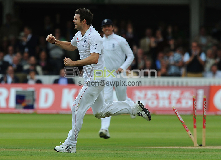 PICTURE BY ALEX BROADWAY/SWPIX.COM - Cricket - The Ashes 2009, 2nd Test - England v Australia, Day Two - Lord's, London, England - 17/07/09...Copyright - Simon Wilkinson - 07811267706...James Anderson of England celebrates the wicket of Marcus North of Australia.