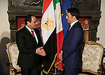 Italian Premier Matteo Renzi, right, meets with Egyptian President Abdel Fattah el-Sissi, at Villa Madama in Rome, Monday, Nov. 24, 2014. El-Sissi was meeting with Italian Premier Matteo Renzi and then Tuesday with Italian and Egyptian entrepreneurs before heading to Paris. His visit was expected to focus on investment, fighting terrorism and the flow of migrants from conflicts in the Middle East and Africa toward Europe. Egyptian Presidency