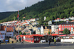 Historic buildings in the Torget fish market square area of Vagen harbour, Bergen, Norway