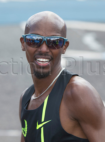 07.09.2014.  South Shields, England.  BUPA Great North Run. Mo Farah wins the 2014 Great North Run.