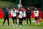 Manchester United manager Jose Mourinho talks with Jesse Lingard and Angel Gomez during the Manchester United training session at the Carrington Training Centre, Manchester. Picture date: May 19th 2017. <br /> Pic credit should read: Matt McNulty/Sportimage