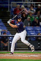 Binghamton Rumble Ponies right fielder Jhoan Urena (24) at bat during a game against the Portland Sea Dogs on August 31, 2018 at NYSEG Stadium in Binghamton, New York.  Portland defeated Binghamton 4-1.  (Mike Janes/Four Seam Images)